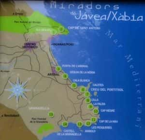 Map showing 15 viewing points in Javea